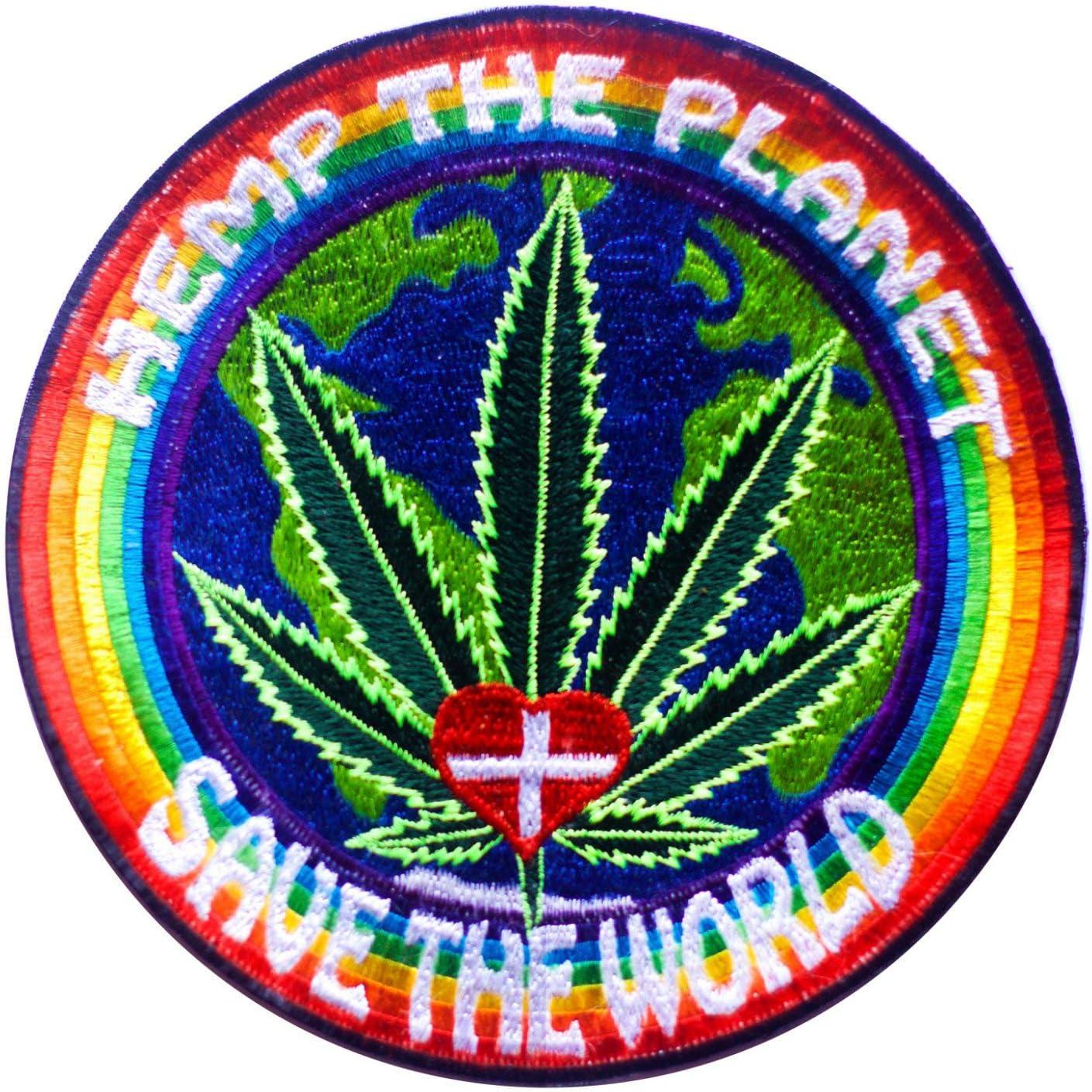 ImZauberwald Parche de cáñamo The Planet de 7 pulgadas para salvar el mundo de las malas hierbas cura todo el parche