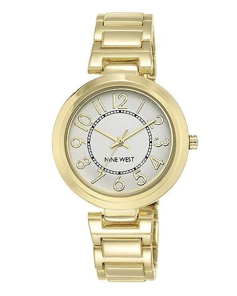 Nine West Reloj de Cuarzo para Mujer con Pulsera de aleación de Plata Esfera analógica Pantalla y Dorado NW/1892svgb: Amazon.es: Relojes