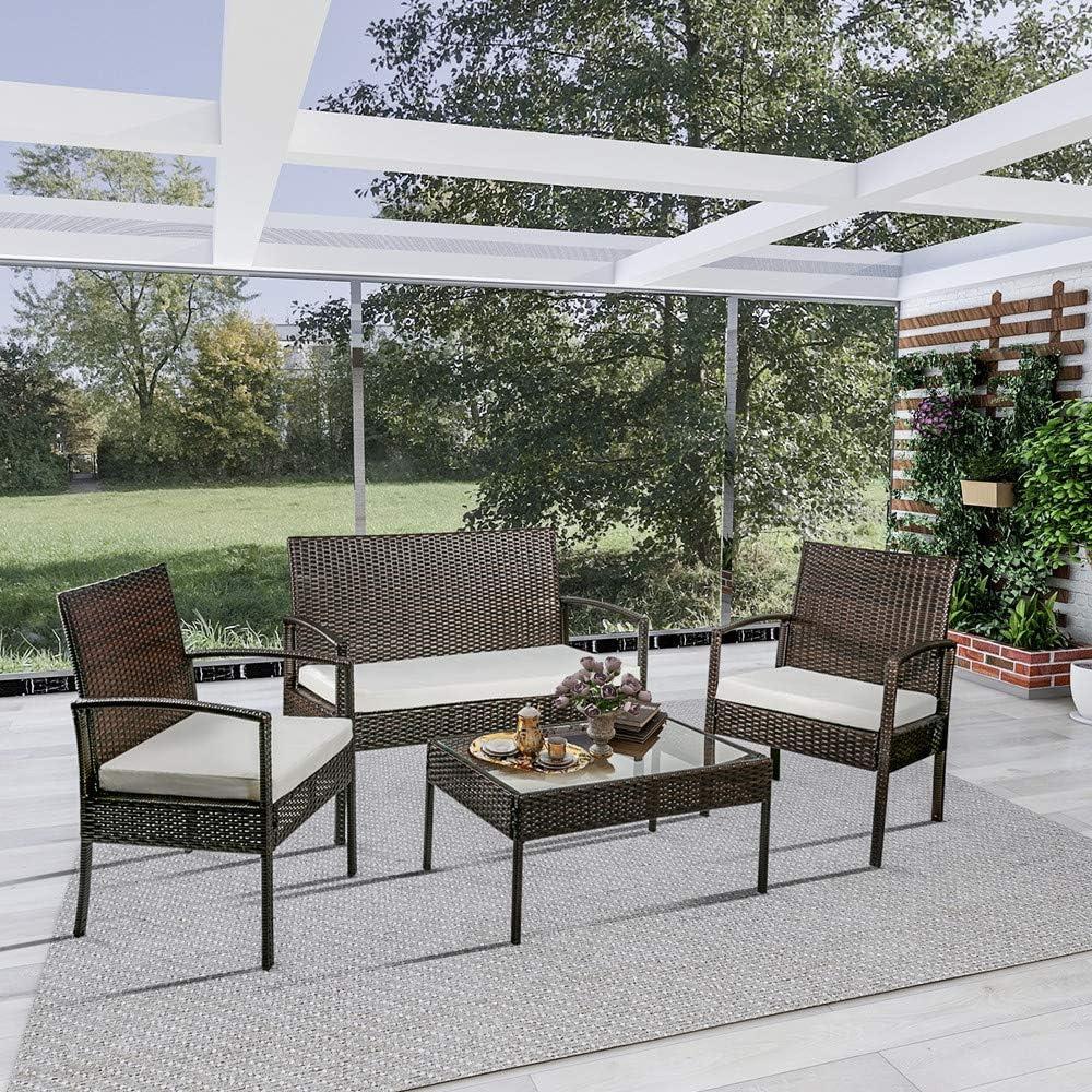 Simply-Me-Me - Juego de 4 sillas de ratán para Patio y jardín ...