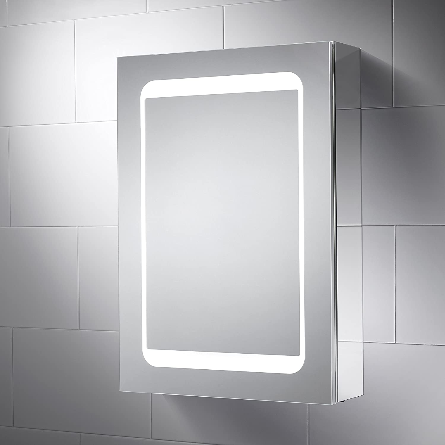 Pebble Grey 500 x 700 mm Bathroom Cabinet Atlanta LED Illuminated ...