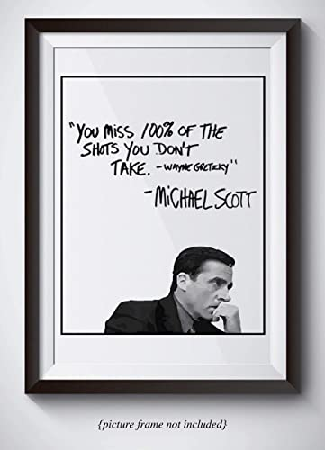 Amazon Michael Scott Motivational Quote Poster You Miss 60 Amazing Michael Scott Wayne Gretzky Quote