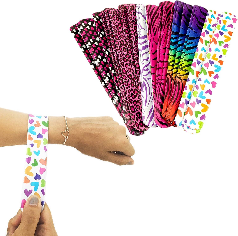 Tytroy 25 Pack Colorful Slap On Vinyl Plastic Bracelets - Bright Neon Retro 90's Style - Heart Tiger Animal Prints Pattern - Girls Party Bracelet Favors Birthday Classroom Prizes