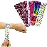 Tytroy 25 Pack Colorful Slap On Vinyl Plastic Bracelets - Bright Neon Retro 90's Style - Heart Tiger Animal Prints…