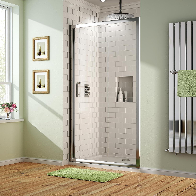 iBathUK 1000 x 700 mm Sliding Glass Shower Door Alcove Enclosure ...