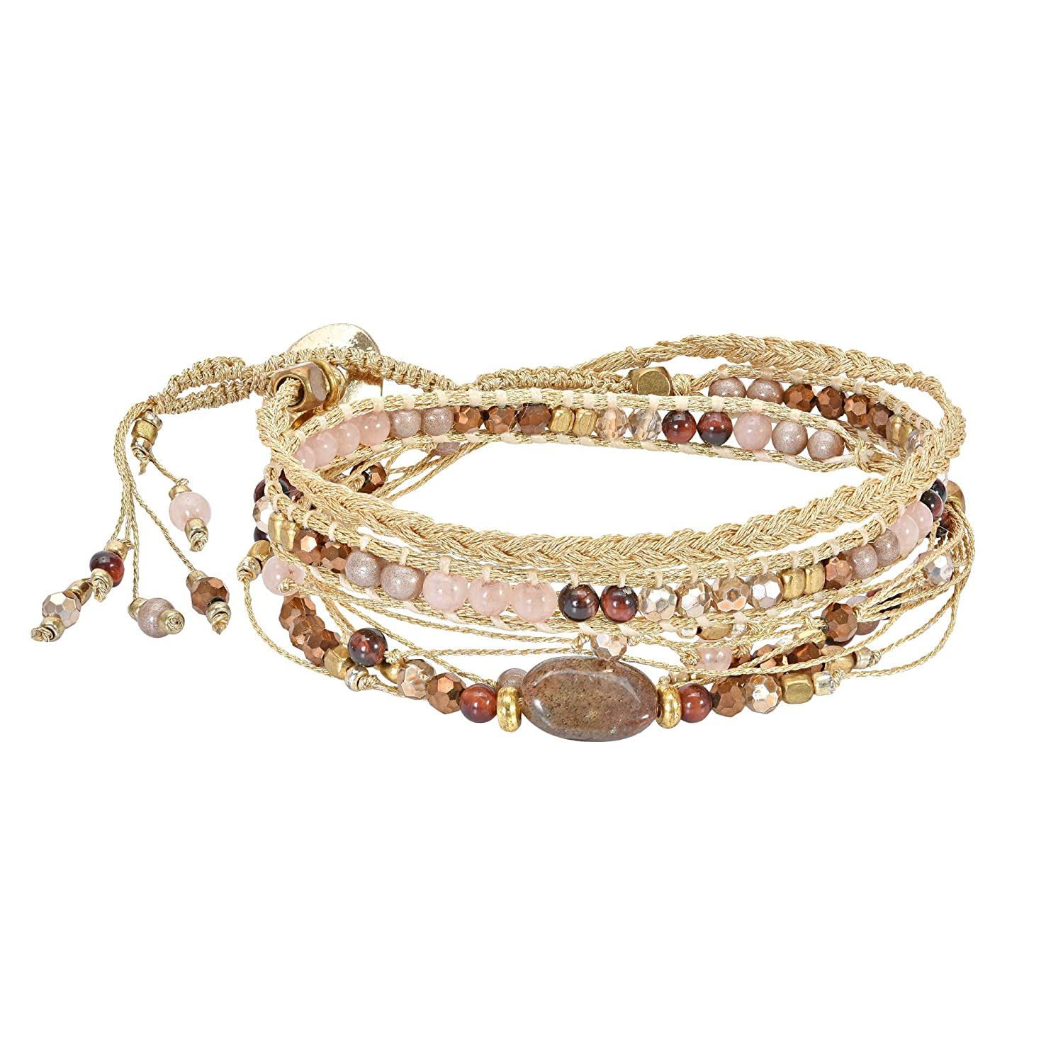 AeraVida Stunning Fusion of Gold /& Pink Mixed Tones Chunky Triple Wrap Bracelet