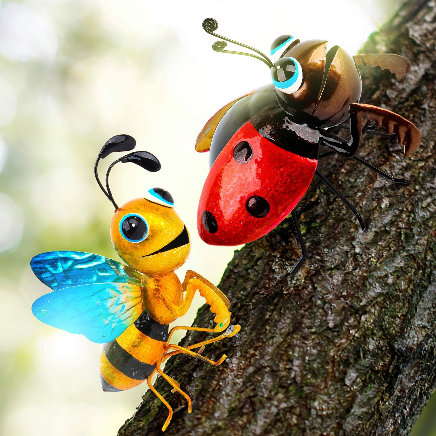 Metal Art for Yard, Set of 2 - Ladybug and Honeybee - Adorable Tree Decor/Wall Sculptures for Indoor and Outdoor Decoration - Colorful Fun Handmade 3D Art