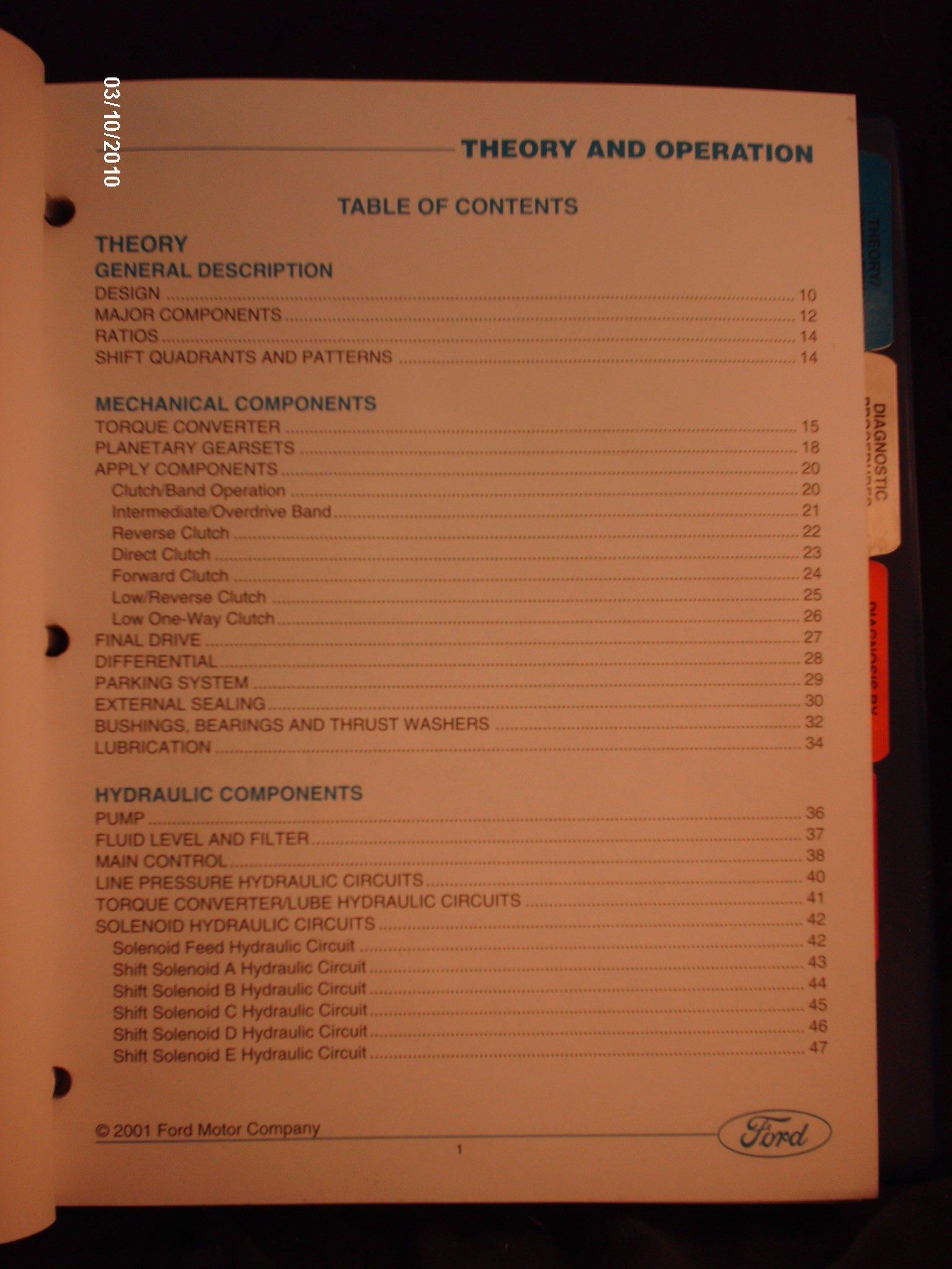 2001 Ford 4f27e Transaxle Service Manual Ptb 013 Motor Shift Solenoid B Company Books