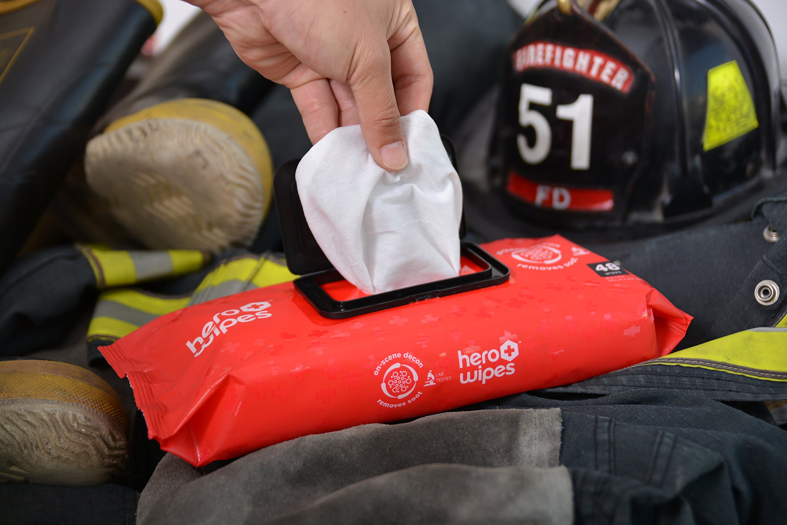 Hero Wipes On Scene Decon Body Wipes for Firefighters (Total 576 Count, case of 12 pouches) Removes 98% of Carcinogens - All Natural Alcohol Free Formula - Removes Soot, Smoke and Toxins - Made in USA by Hero Wipes (Image #5)