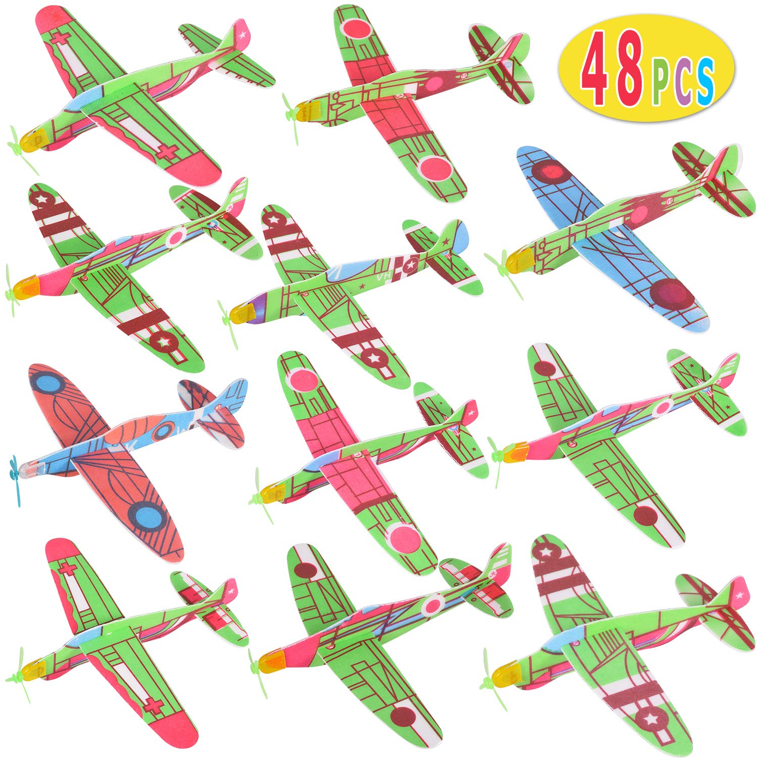 Max Fun Random 48 Pcs 6.9'' Flying Glider Planes for Kids Birthday Party Favors Carnival Prizes School Classroom Rewards