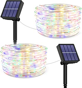 Christmas Rope Lights Outdoor Waterproof - 40FT 100 LED Tube Light 8 Modes Solar Powered Rope String Lights Waterproof for Garden Patio Fence Balcony Yard Decoration (Multi Color, 2 Pack)