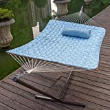 Lazy Daze Hammocks 12 Feet Steel Hammock Stand with Cotton Rope Hammock Combo, Quilted Polyester Hammock Pad and Pillow, Palm Bay Light Blue