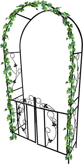 Dirty Pro Tools™ Arco para jardín de metal con puerta, para plantas trepadoras, ornamental: Amazon.es: Jardín