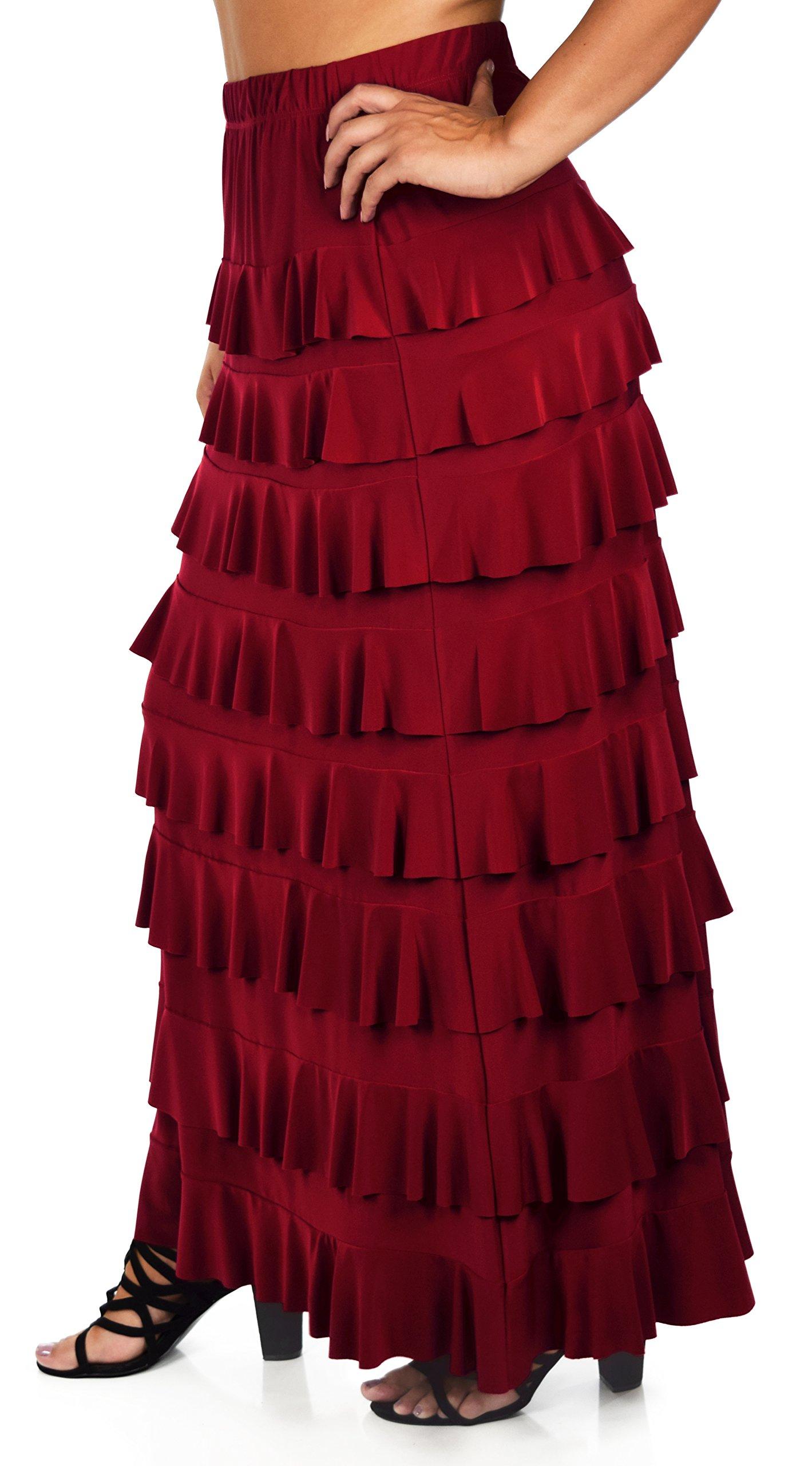 Dare2BStylish Women Waterfall 8 Tiered Boho Layered Maxi Skirt | Reg & Plus Sizes (1X, Burgundy)