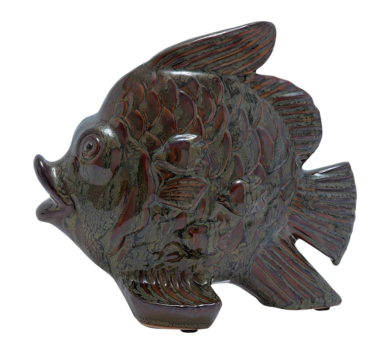Plutus Brands Ceramic Fish with Glossy and Smooth Polished Surface UE0557