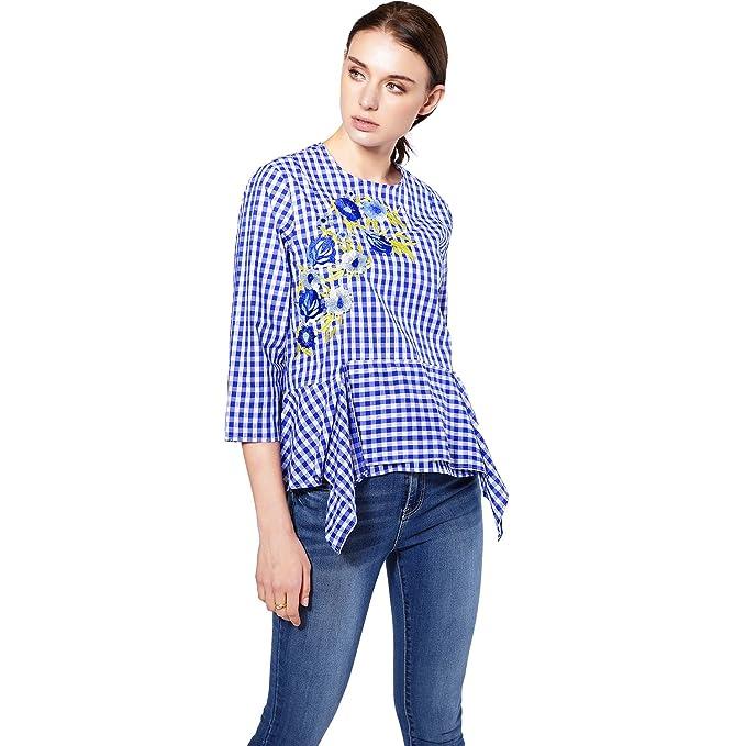 Las blusas de la tela escocesa del bordado floral de las mujeres llenan las camisas flojas