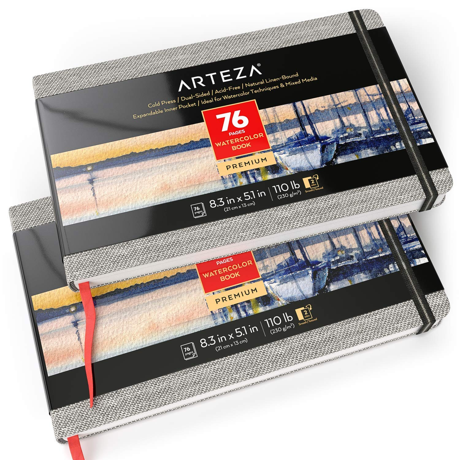ARTEZA 5.1x8.3'' Watercolor Book, Pack of 2, 76 Pages per Pad, 110lb/230gsm, Cold Pressed Paper, Linen Bound with Bookmark Ribbon and Elastic Strap, for Watercolor Techniques and Mixed Media