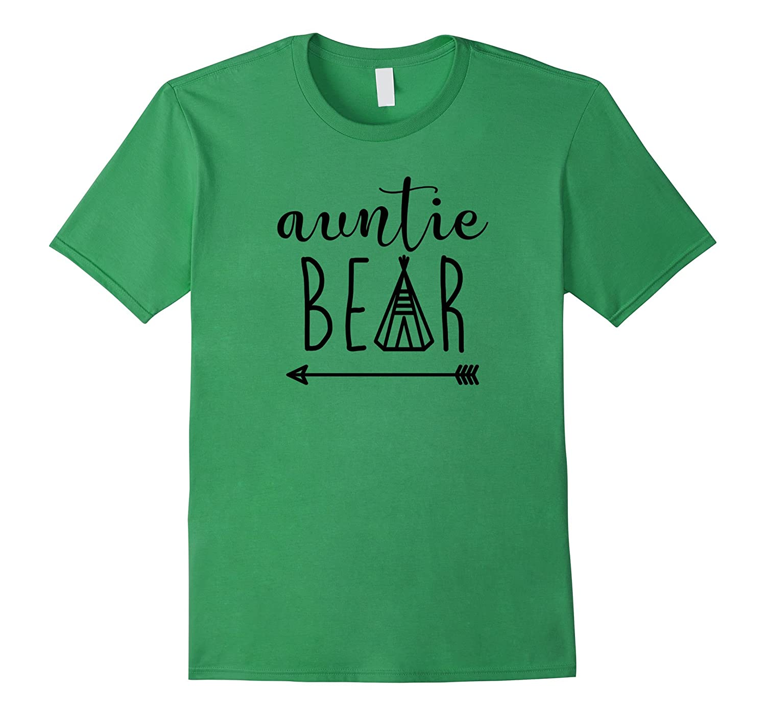 Auntie Bear - Indian Teepee and Arrow Black Text - T Shirt-TH