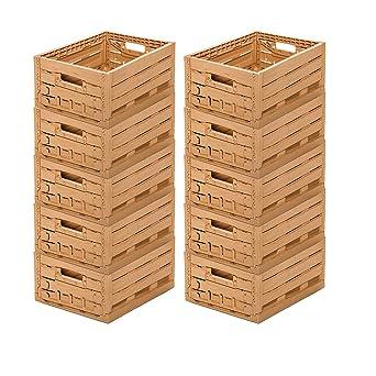 10 Stk fruta caja – Almacenamiento caja madera diseño manzana caja 400 x 300 x 165 mm invitados Lando: Amazon.es: Industria, empresas y ciencia