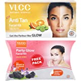 VLCC Anti Tan Facial Kit, 60g with Free Party Glow Facial Kit, 60g