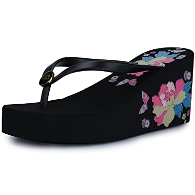 bd4cb8e2fd0911 IDIFU Women s Holi-Forest Beach Platform High Heels Wedge Thong Flip Flop  Black 4 B