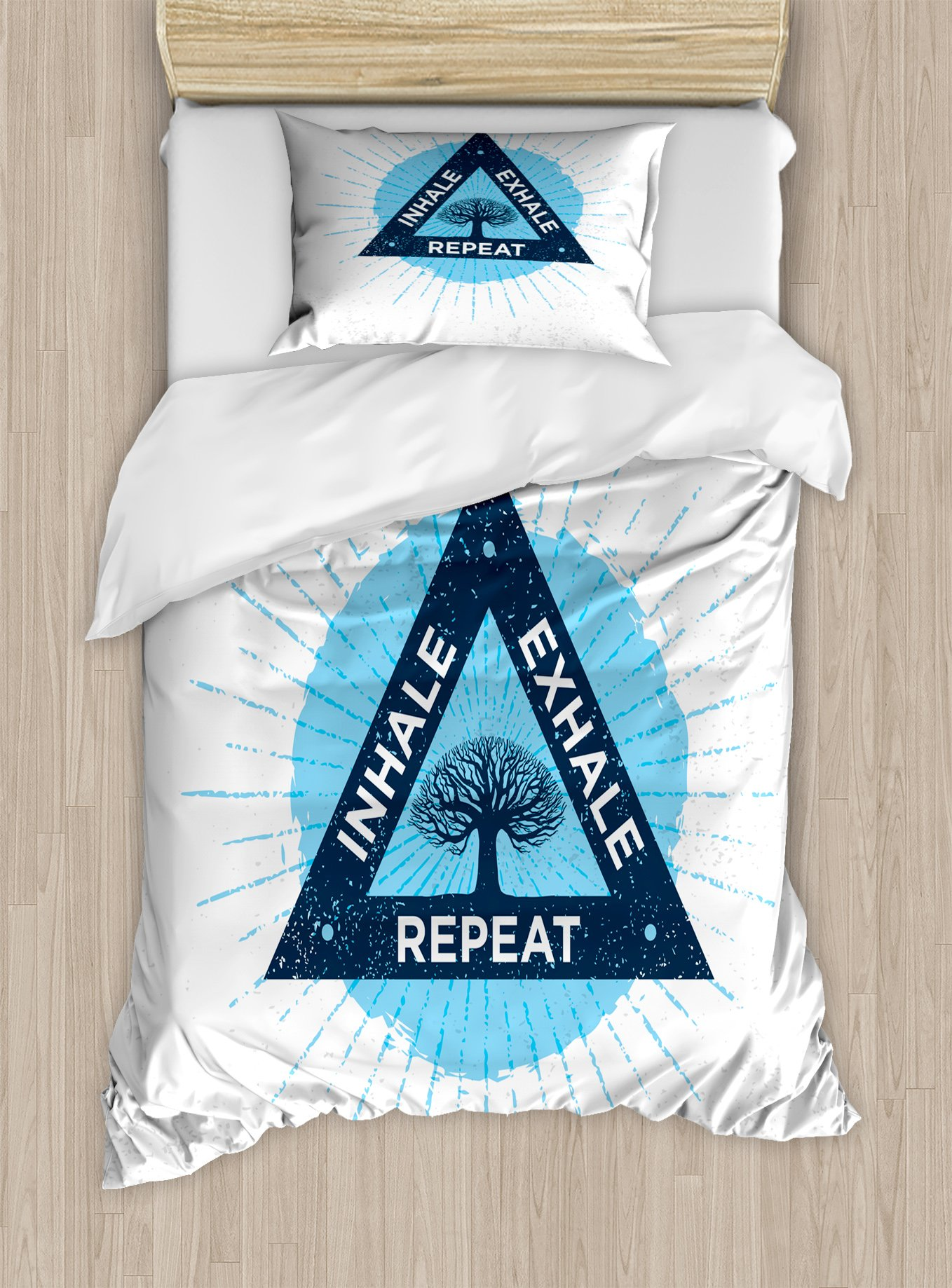 Ambesonne Inhale Exhale Twin Size Duvet Cover Set, Spa Yoga Meditation in Triangle with Tree of Life Tranquil Graphic, Decorative 2 Piece Bedding Set with 1 Pillow Sham, Night Blue and White
