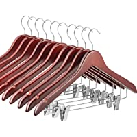 High-Grade Wooden Suit Hangers Skirt Hangers with Clips (10 Pack) Smooth Solid Wood Pants Hangers with Durable Adjustable Metal Clips, 360° Swivel Hook, Shoulder Notches for Dress Coat, Jacket, Blouse