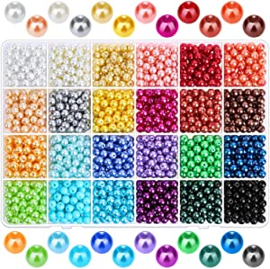 Pearl Beads for Jewelry Making, Caffox 1680PCS Round Colorful Pearls with Holes for Making Earring, Necklaces, Bracelets and Jewelry DIY Craft
