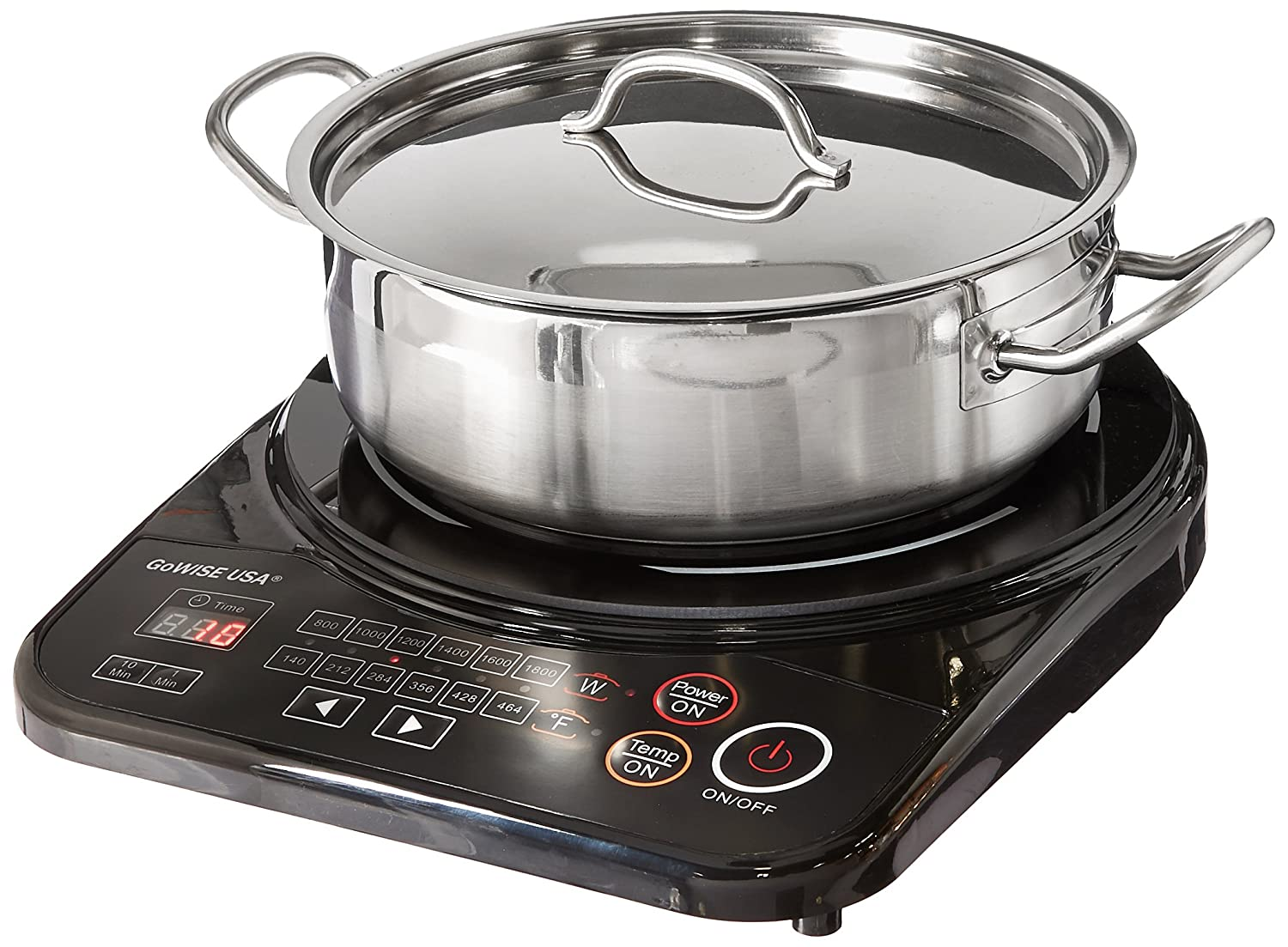 GoWISE USA GW22616 Portable Induction Glass Smooth top Cooktop w/Stainless Steel Pan & Lid 1800W