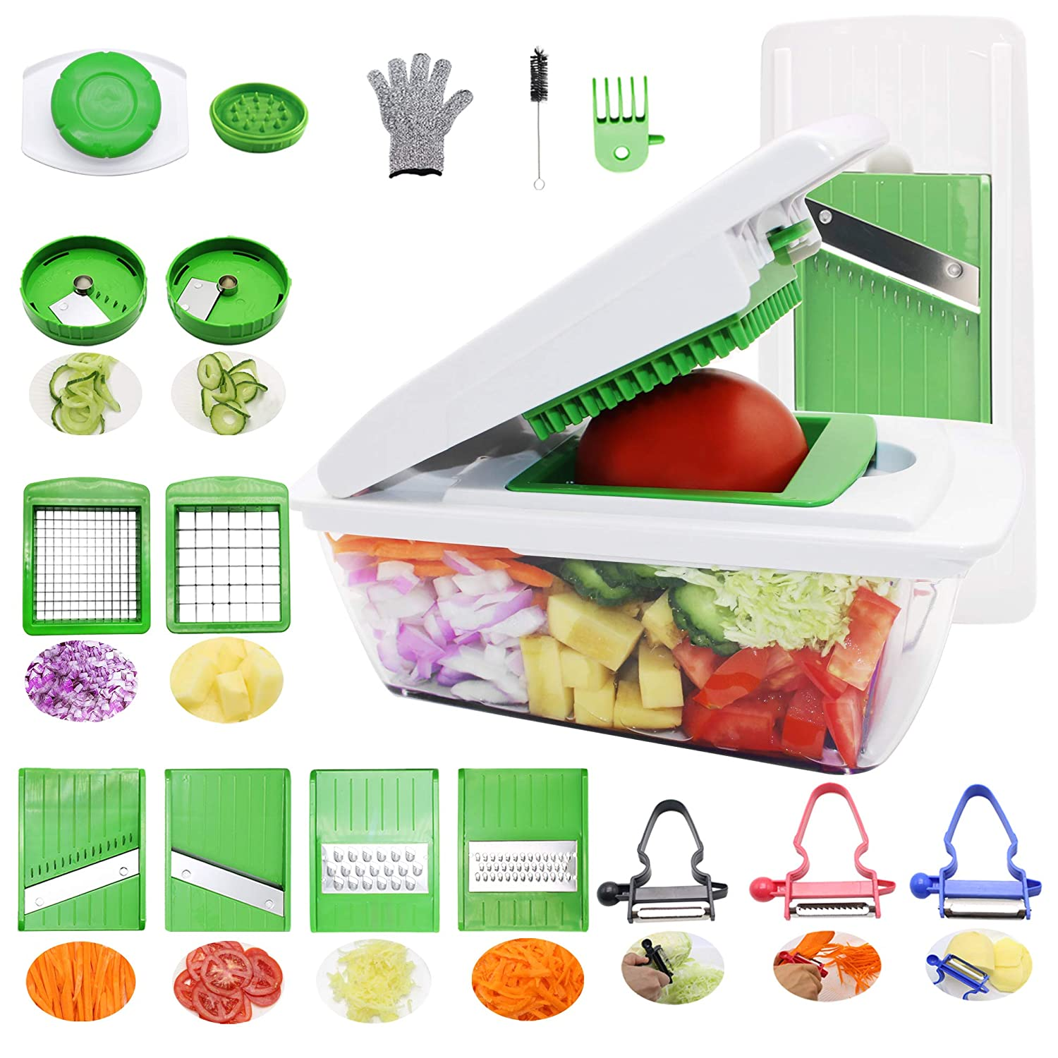 RTMAXCO Vegetable Chopper Mandoline Slicer Dicer Onion chopper Cutter Grater Food Chopper, Fruit, Vegetables Cheese Cutter, All In 1 Interchangeable Stainless Steel Blades Vegetables slicer