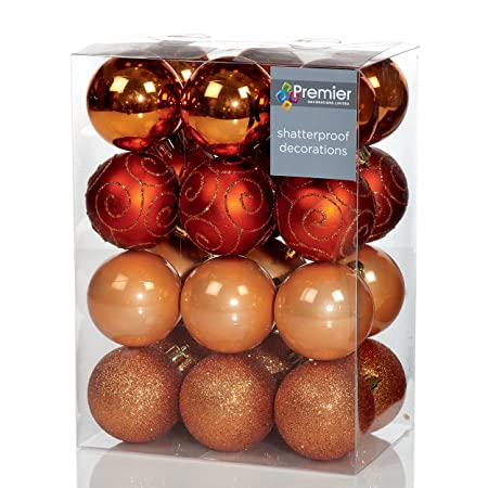 set of 24 copper christmas tree baubles 6cm