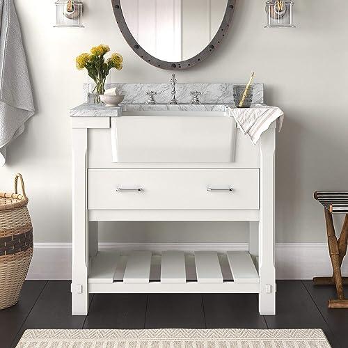 Charlotte 36-inch Bathroom Vanity Carrara/White : Includes White Cabinet