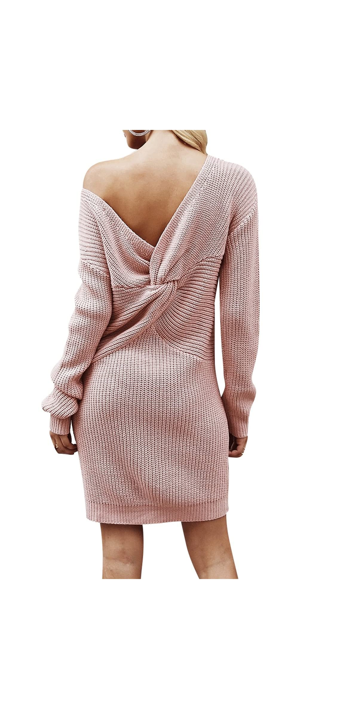 Women's Casual Long Sleeve Off The Shoulder Knitted Mini