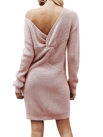 192b241a9333 BerryGo Women s Casual Long Sleeve Off The Shoulder Knitted Sweater Mini  Dress Dusty Pink