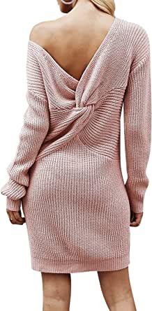 BerryGo Women's Casual Long Sleeve Off The Shoulder Knitted Sweater Mini Dress