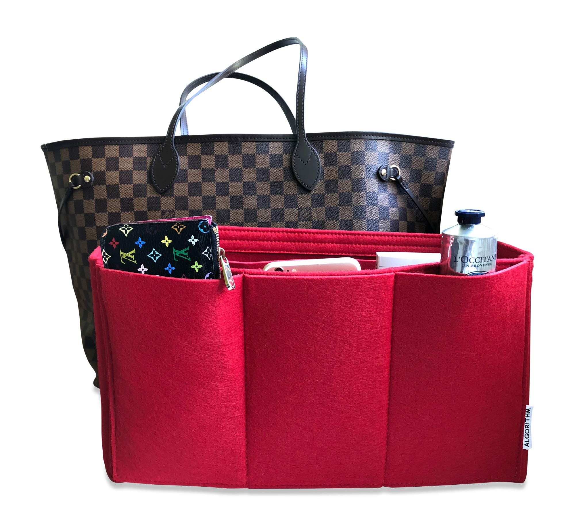 AlgorithmBags Neverfull GM Organizer Purse Insert, Red, 3mm Felt, 12 Pockets (Red)
