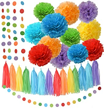 Rainbow Party Decorations Tissue Paper Pom Pom Paper Garland Circle Garland  For Rainbow Baby Shower Decorations