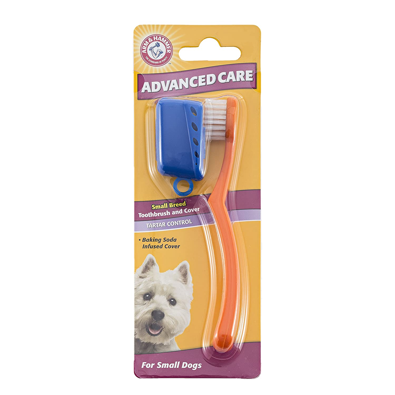 Arm & Hammer Advanced Care Tartar Control Small Breed Toothbrush and Cover For Dogs, Single Pack