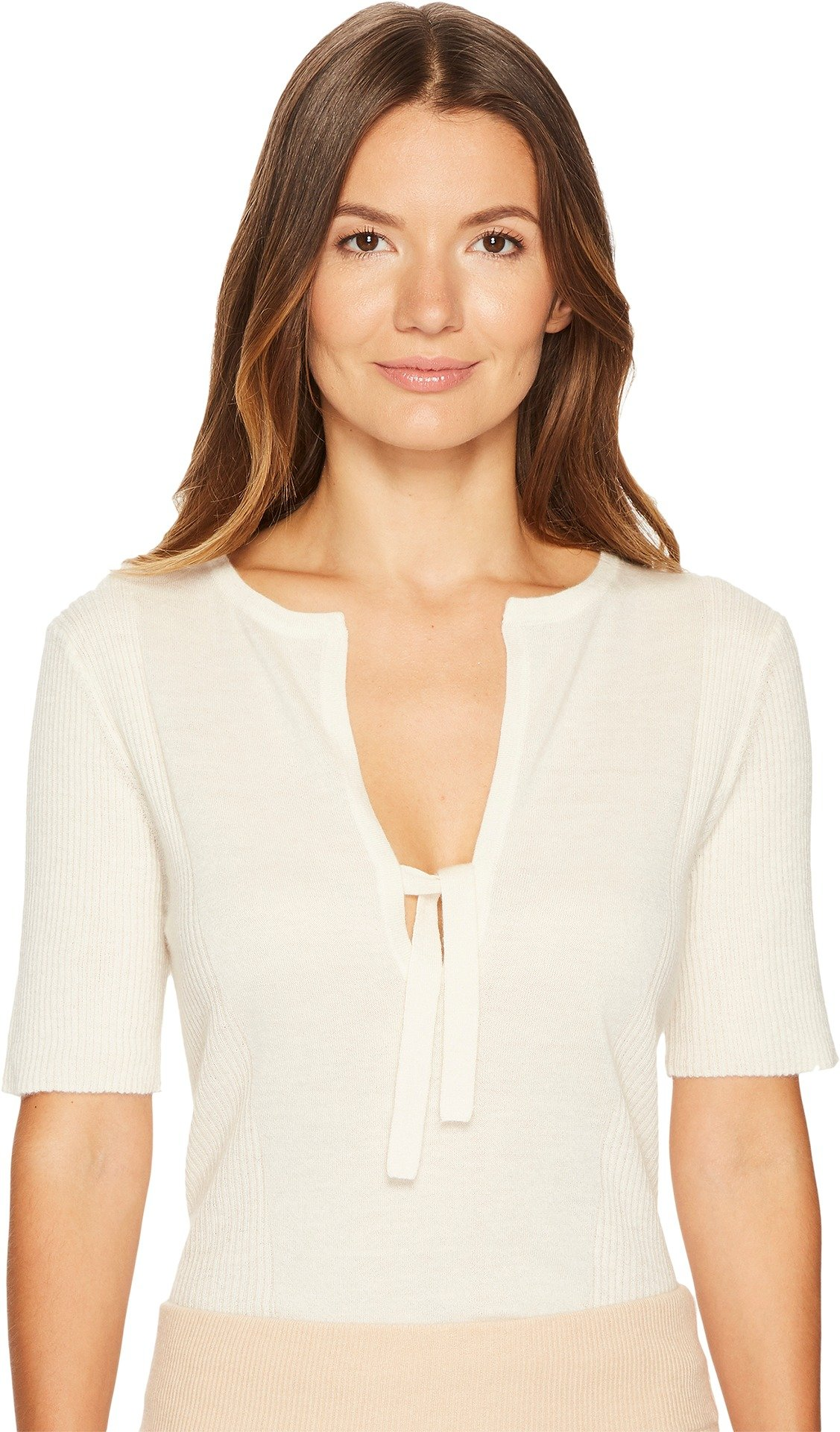 Cashmere In Love Women's Cara Short Sleeve Pullover Off-White Small