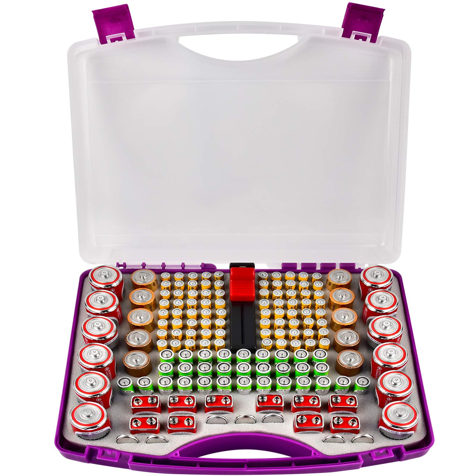 Battery Storage Organizer Case Holder with Battery Tester, Battery Garage Container Fits for 180+ AA AAA 9V C D Lithium 3V A23 CR 2032, CR 2016, CR 1632, CR 2025 and 1.5V Button Coin Cell-Purple