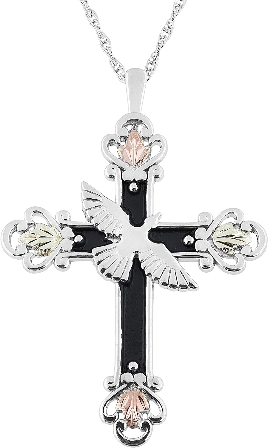 Rhodium-Plated Sterling Silver Holy Spirit Cross w//Dove Charm