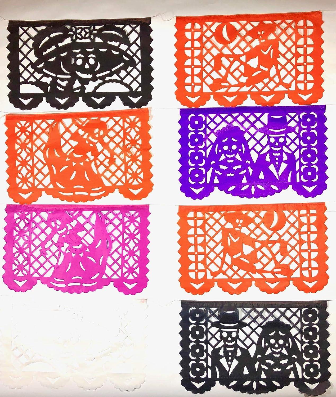 Day Of the Souls Dia de Muertos decoration Medium Size Tissue Paper Mexican Papel Picado banner.