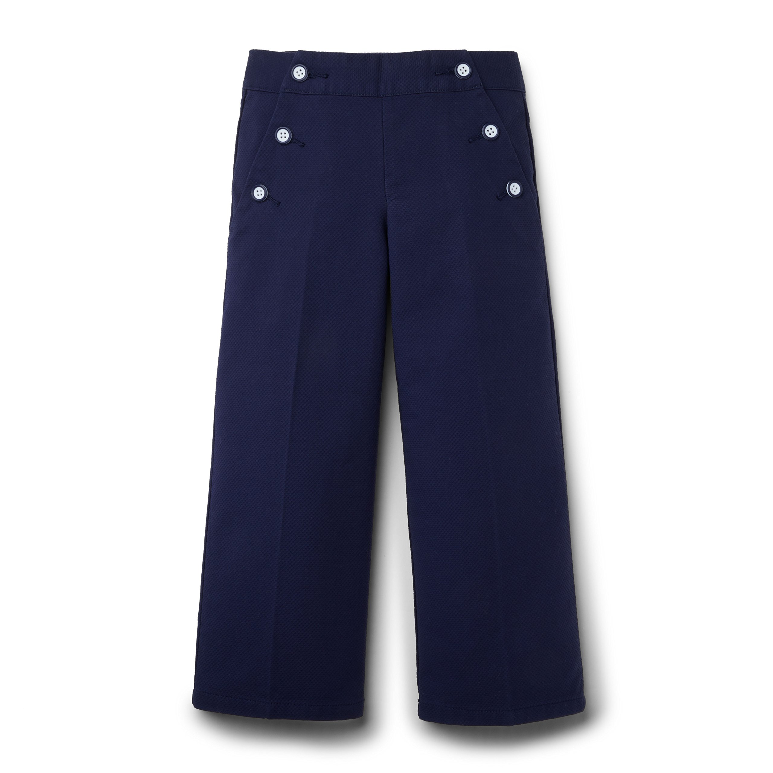 Hope and Henry Girls Navy Pique Sailor Pants Made with Organic Cotton