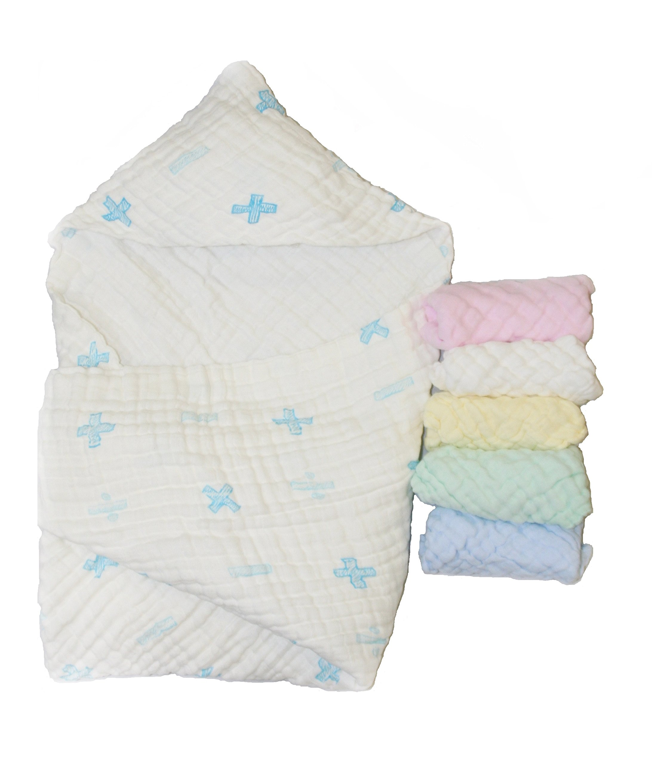 Muslin Hooded Baby Towel Bundle with Washcloths for Newborn Boy Blue Baby Shower Gift by Little Kale + Co