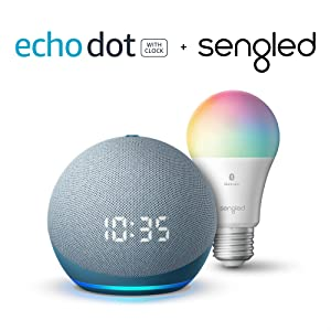 Echo Dot (4th Gen) | Smart speaker with clock and Alexa | Twilight Blue with Sengled Bluetooth Color bulb