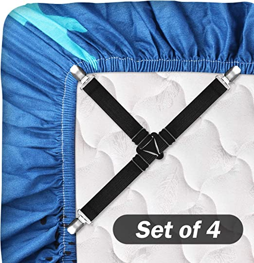 12 Pcs Adjustable Bed Sheet Straps With metal clip for Flat S Bed Sheet Clips