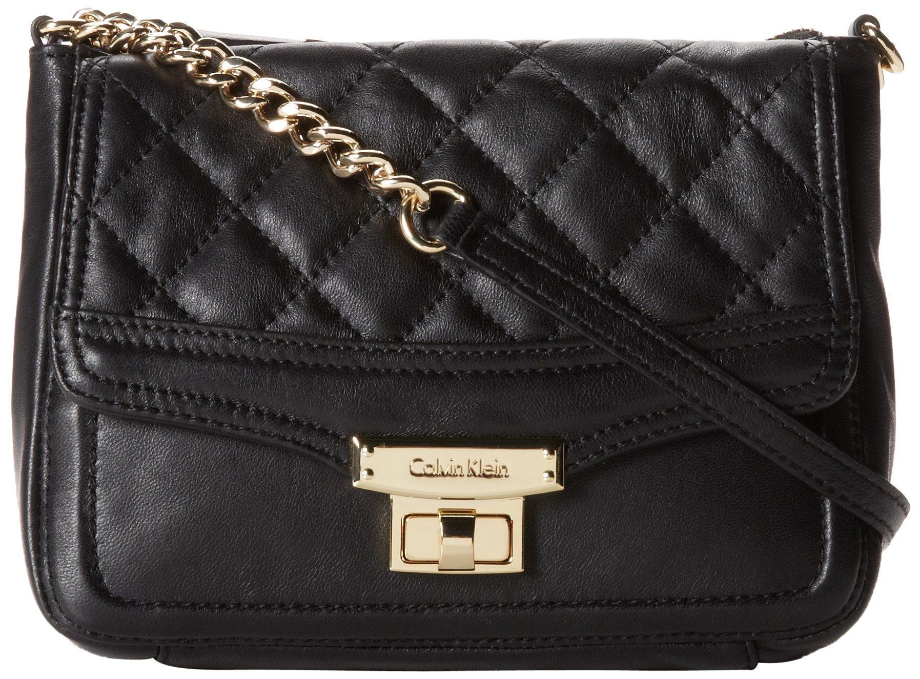 63c6b8ea5374 Galleon - Calvin Klein Fermo Quilted Leather Cross Body Bag,Black/Gold,One  Size