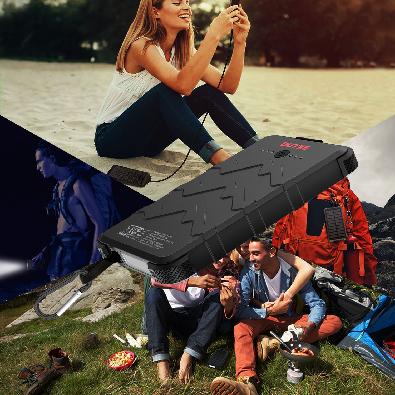OUTXE 10000mAh Rugged Solar Power Bank with Flashlight IP67 Waterproof Portable Charger Outdoor