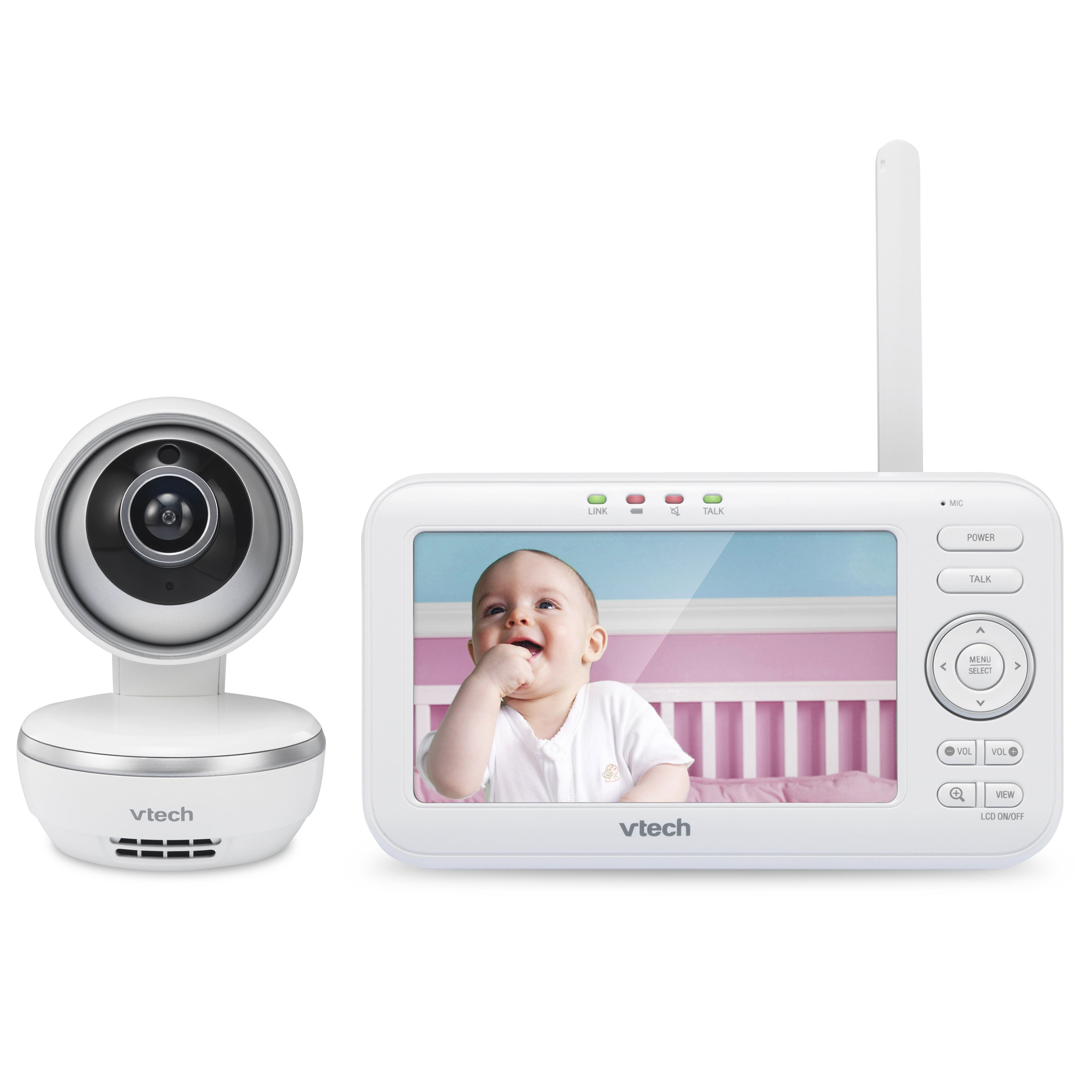 "VTech VM5261 5"" Digital Video Baby Monitor with Pan & Tilt Camera, Wide-Angle Lens and Standard Lens, White by VTech (Image #2)"