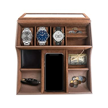 TABI Valet Tray for Men and Women—Includes 10 Compartments—Stores Small and Valuable Items—Unisex Velvet Jewelry Box with Cellphone Holders—for Watches, Keys, Wallet, Rings, Passport—11.2x10.8x3.2in
