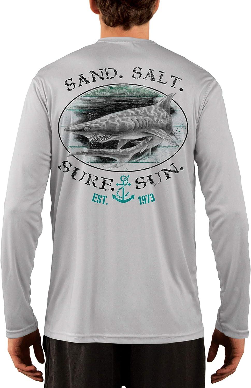 SAND.SALT.SURF.SUN. Shark Men's UPF 50+ UV Sun Protection Performance Long Sleeve T-Shirt